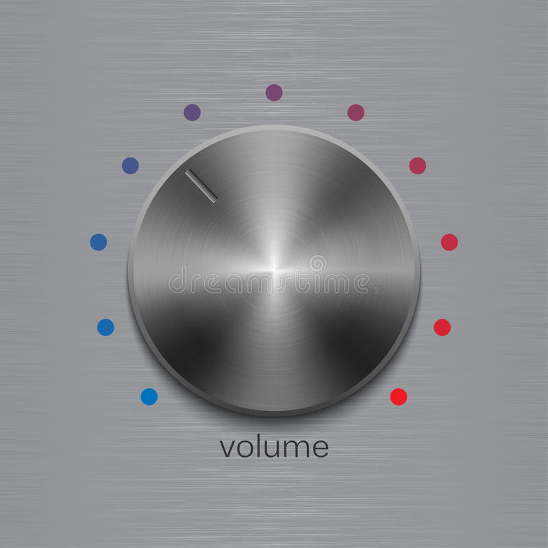 Solide Steuerung mit dunklem Stahlmetall bürstete Beschaffenheit und Punkt-Skala auf Poliermetallbeschaffenheitshintergrund lizenzfreie abbildung