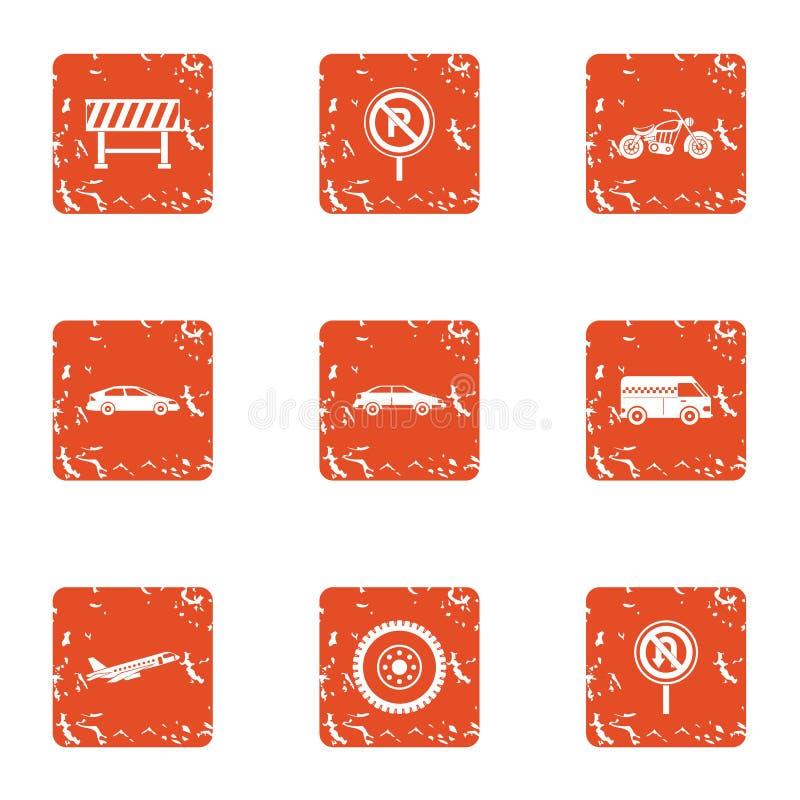 Solidement icônes de route réglées, style grunge illustration stock