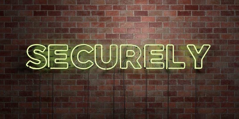 SOLIDEMENT - le tube au néon fluorescent se connectent la brique - vue de face - photo courante gratuite de redevance rendue par  illustration stock