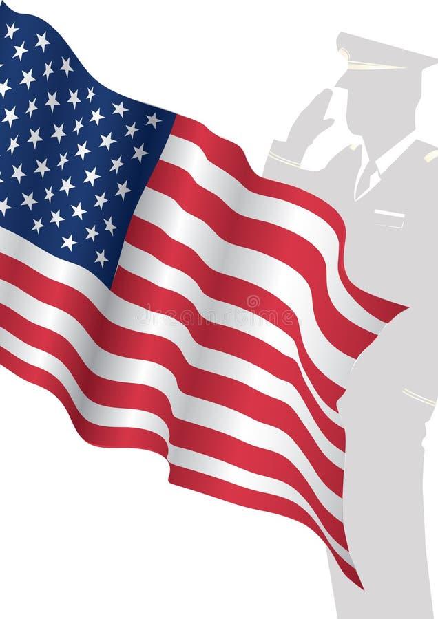 Solider anseende i Front Of Us Flag Saluting vektor illustrationer
