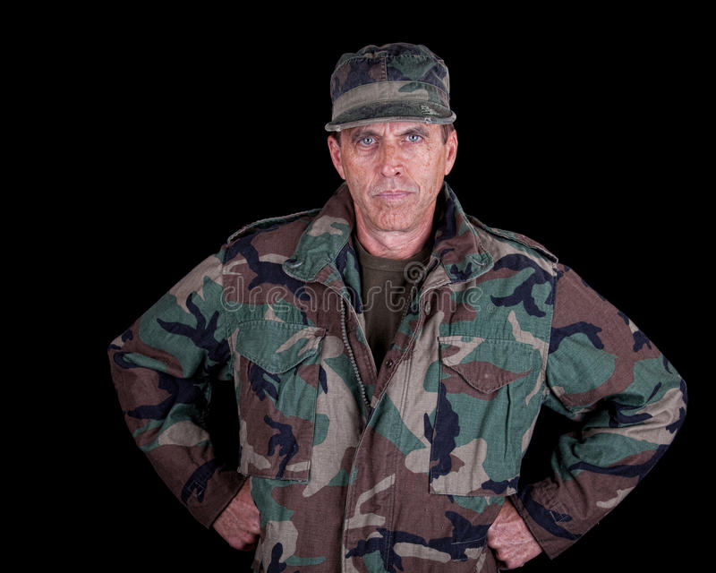 Solider with Arms Akimbo royalty free stock photo