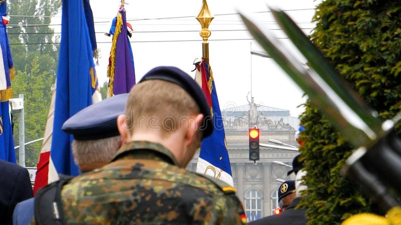 Soliders and veterans at Ceremony to mark Western allies World W. Ar Two victory Armistice in Europe marking the 72nd anniversary of victory Nazi Germany in 1945 stock image