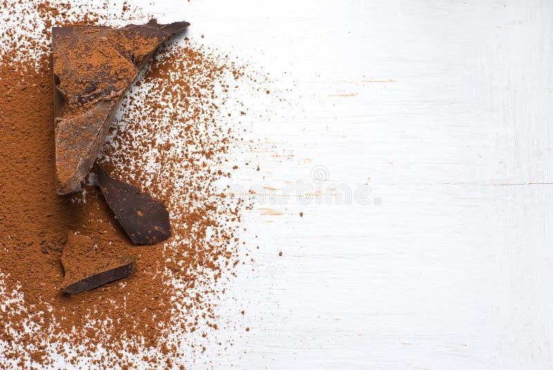 Solidi e cacao in polvere del cacao fotografie stock libere da diritti