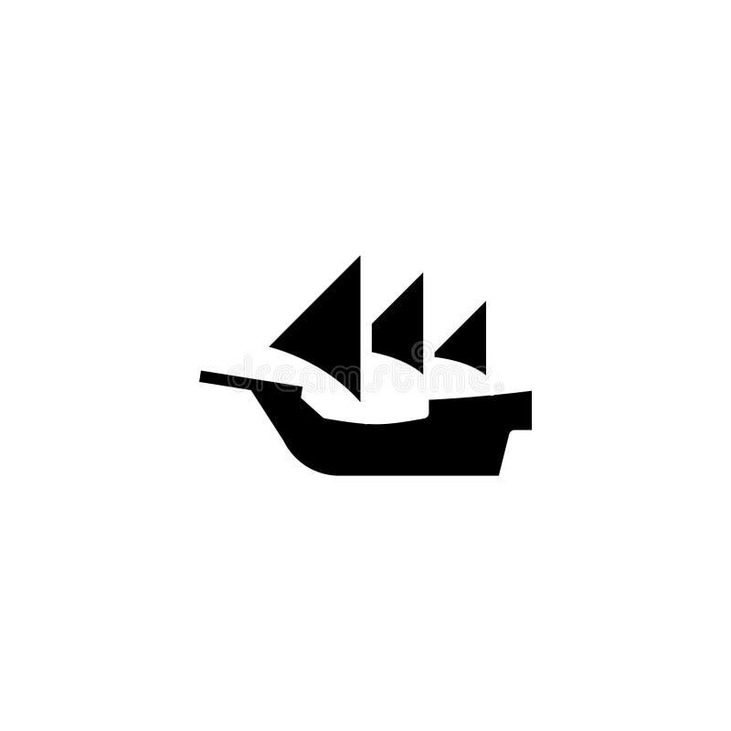 Solido dell'icona della caravella azione dell'icona del trasporto e del veicolo royalty illustrazione gratis