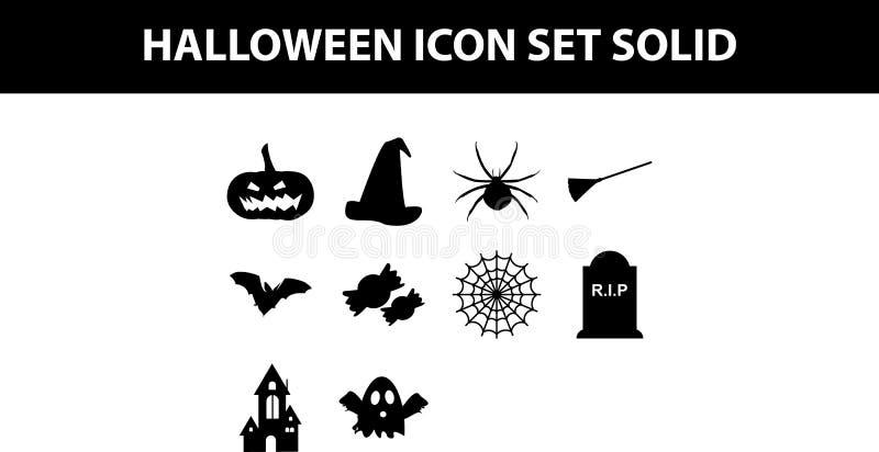 Solido dell'icona di Halloween/icona stabiliti di Hallowen illustrazione di stock