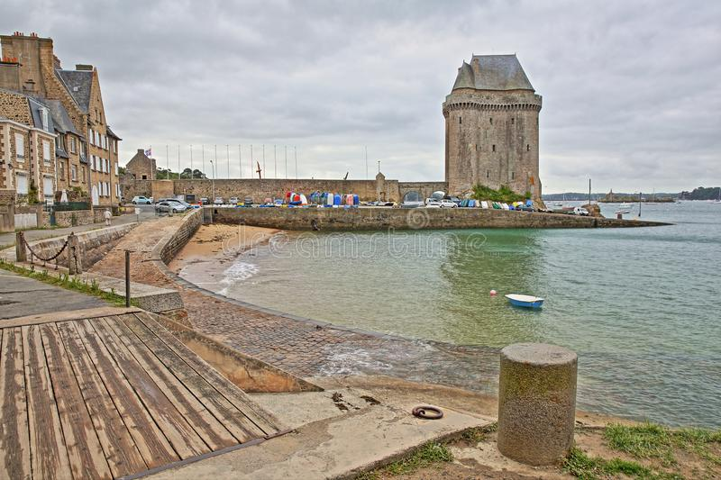 Solidor Tower located in the estuary of the river Rance in Saint Servan with Saint Pere beach in the foreground, Saint Malo stock photo