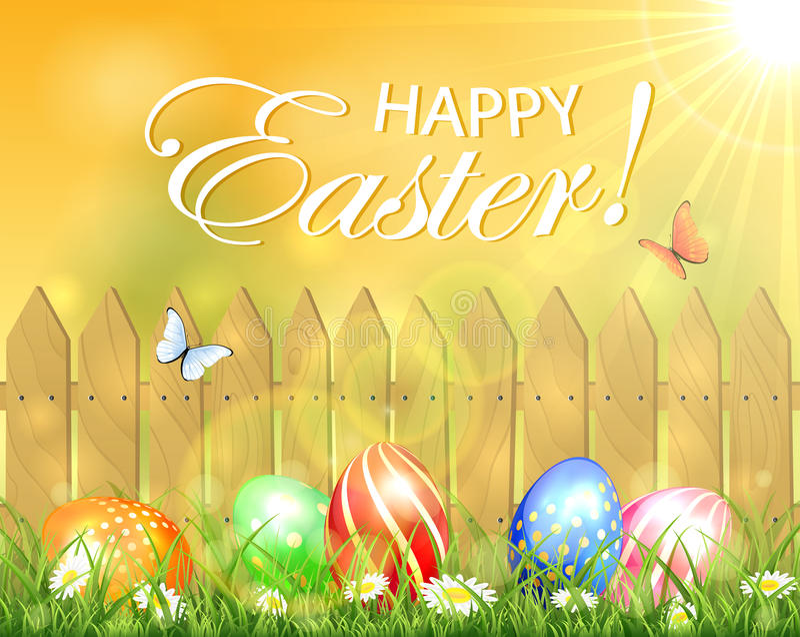 Solig bakgrund för påsk med porten och ägg stock illustrationer