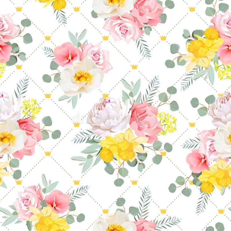 Solig blom- sömlös vektormodell för sommar Pionen som var lös steg, pingstlilja-, nejlika-, rosa färg- och gulingblommor stock illustrationer