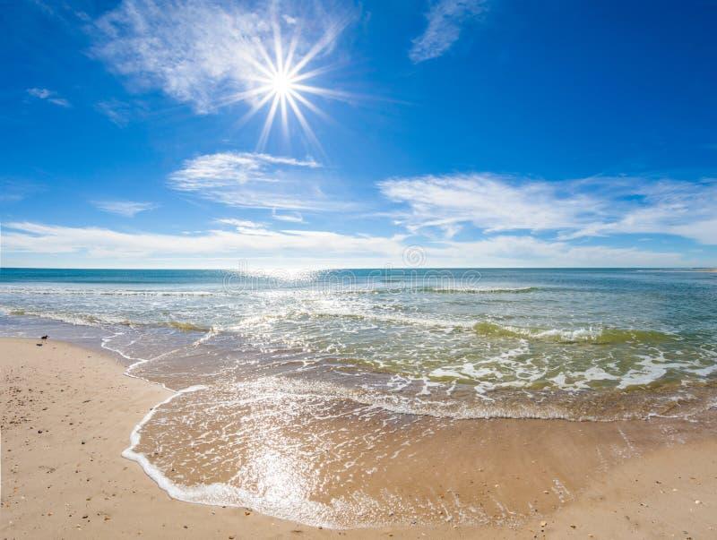 Solig dag över golfen av Mexico på St George Island Florida royaltyfri foto