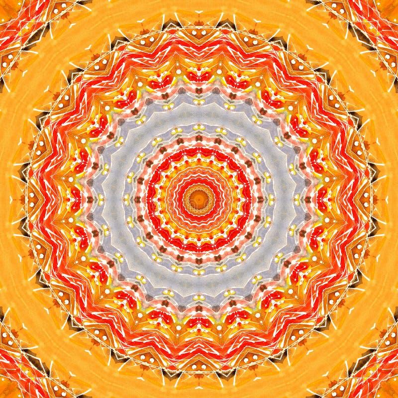 Solig gul orange röd för textiltextur för vattenfärg naturlig modell för cirkel stock illustrationer