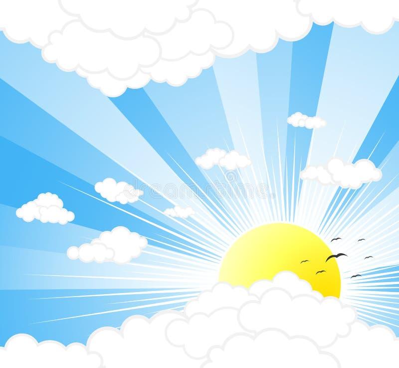 solig härlig sky för bakgrund stock illustrationer