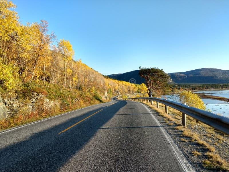Solig höstväg i Alta Finnmark Norway fotografering för bildbyråer