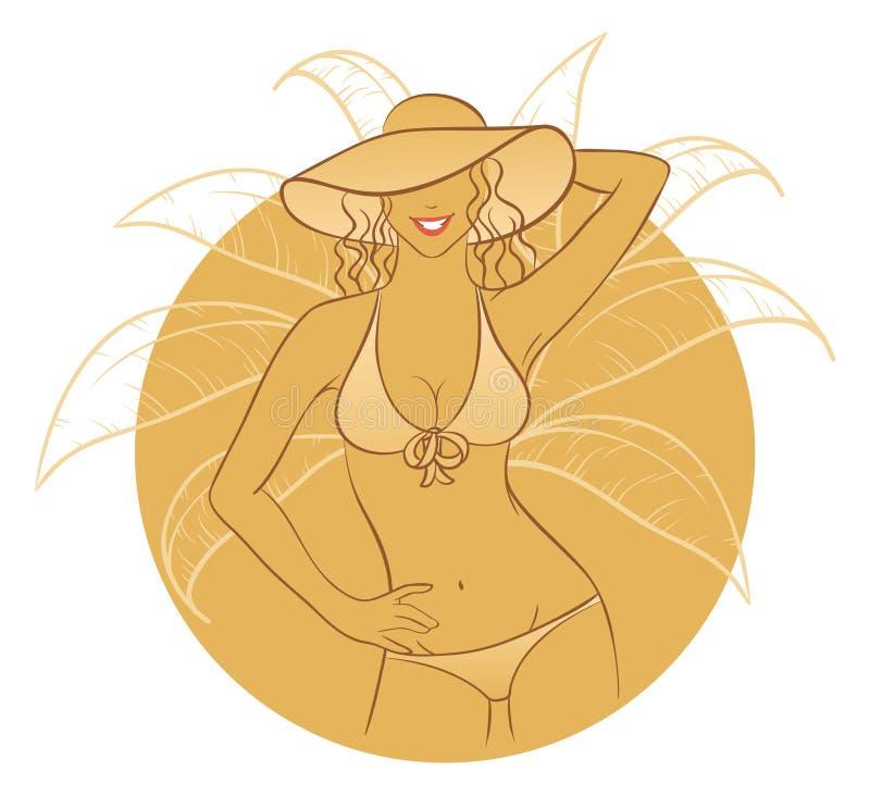 solig kvinna royaltyfri illustrationer