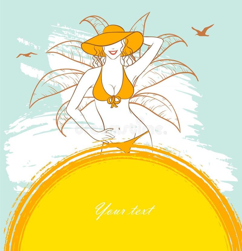 solig kvinna stock illustrationer