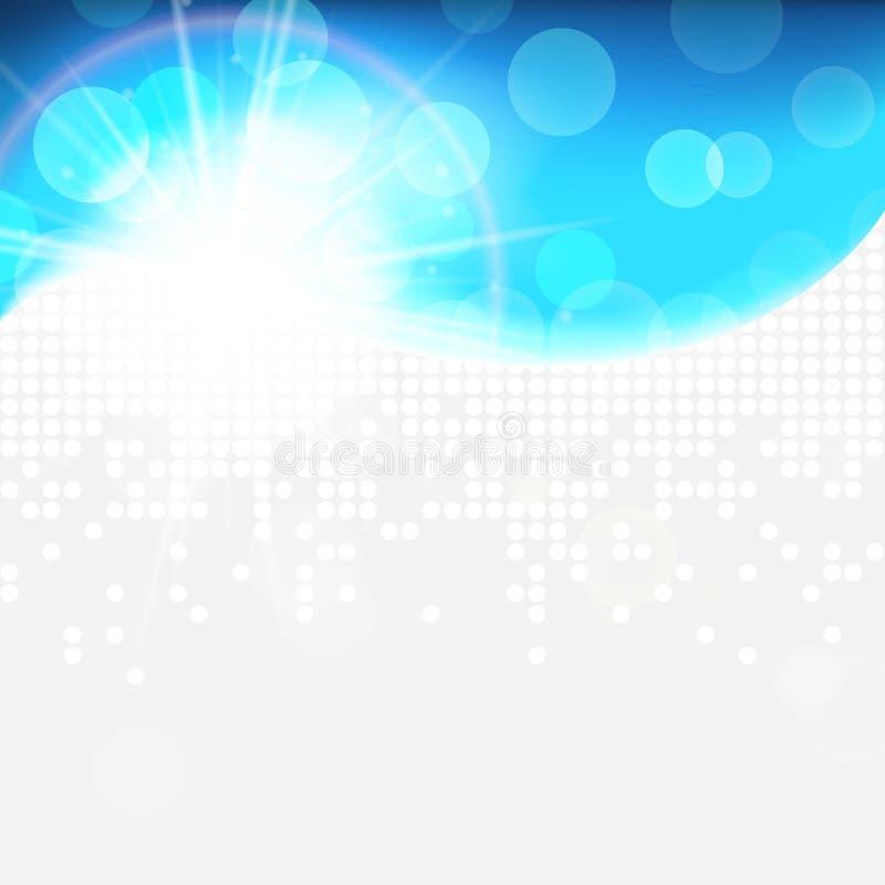 Solig ljus blå vektorbakgrund, snöig abstrakt bakgrund för naturlig vinter för ecoteknologi ljus vektor illustrationer
