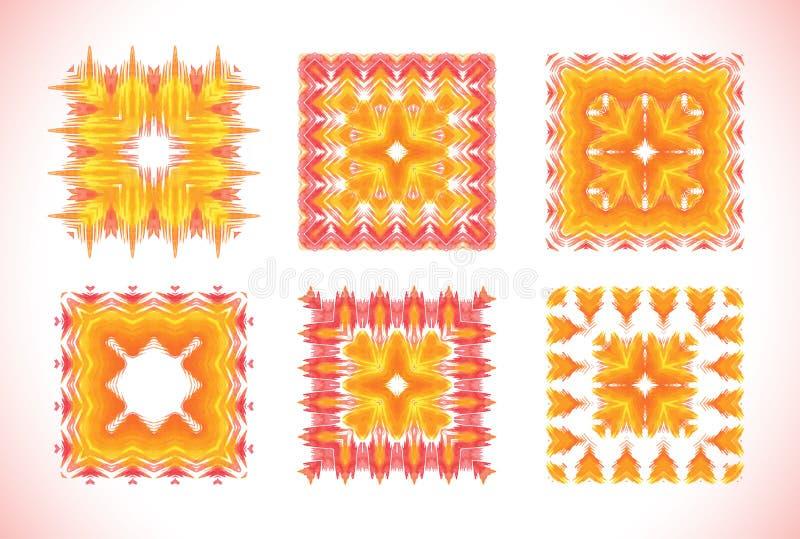 Solig mandala för vattenfärg Beståndsdel för design royaltyfri illustrationer