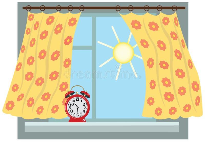 Solig morgon fönster royaltyfri illustrationer