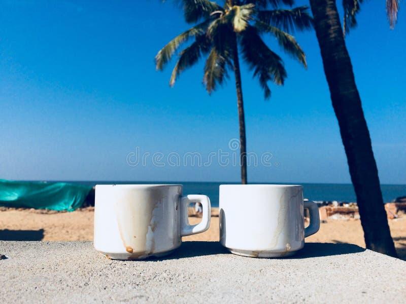 Solig morgon för strandkaffe royaltyfri bild