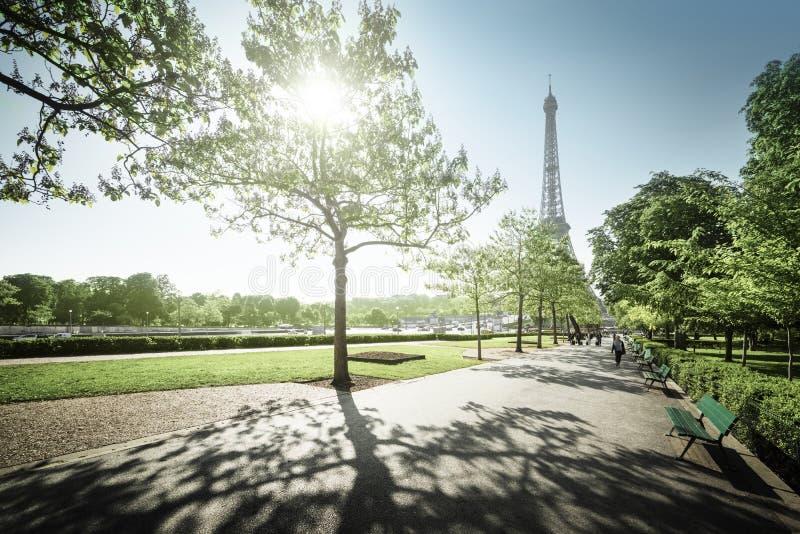 Solig morgon och Eiffeltorn, Paris, Frankrike arkivfoton