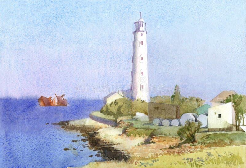 Solig seascape med den kust- fyren och det sjunkna skeppet stock illustrationer