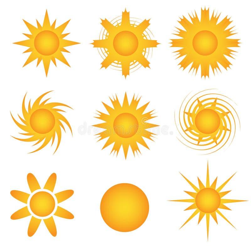 solig symbolssun royaltyfri illustrationer