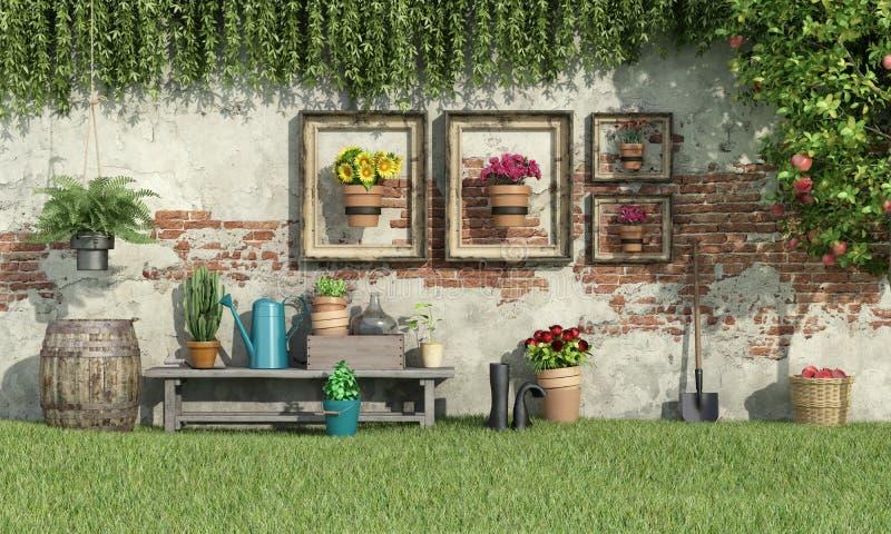 Solig trädgård med blommor och växter stock illustrationer