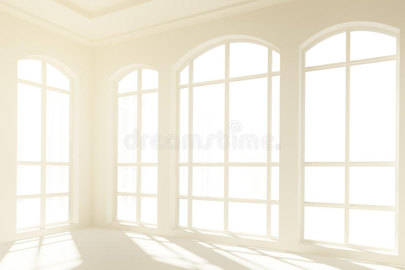 Solig vit inre med stora fönster stock illustrationer