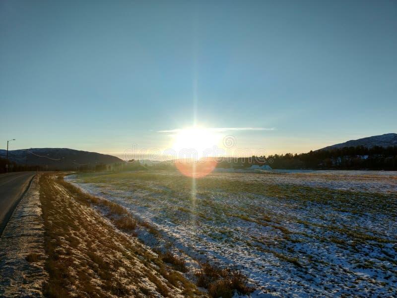Soliga dagar i Alta Finnmark Norway royaltyfri bild
