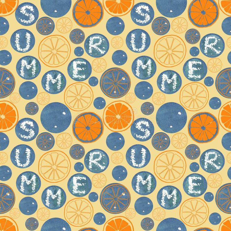 Soliga ljusa apelsinskivor Modell för naturlig sommar för vattenfärg sömlös Organisk vitaminmall vektor illustrationer