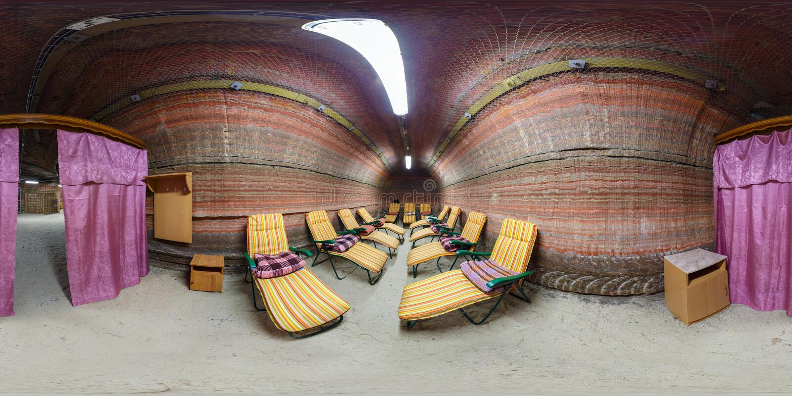 SOLIGORSK, BELARUS - MARCH 8, 2014: full 360 degree panorama in equirectangular spherical equidistant projection in rest dayroom royalty free stock photography