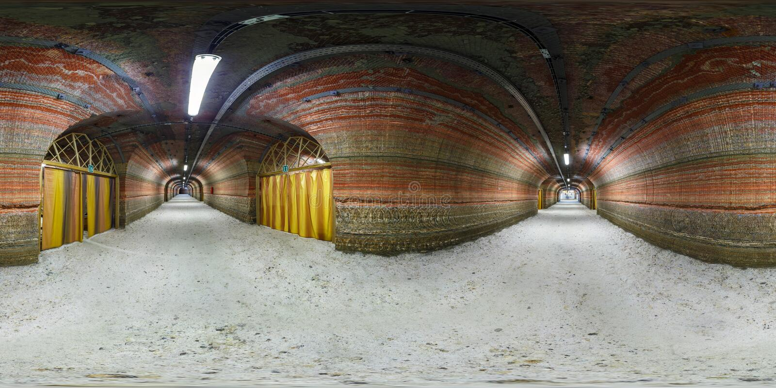 SOLIGORSK, BELARUS - MARCH 7, 2014: Full spherical 360 by 180 degrees seamless panorama in equirectangular equidistant projection. Panorama in interior modern royalty free stock photos