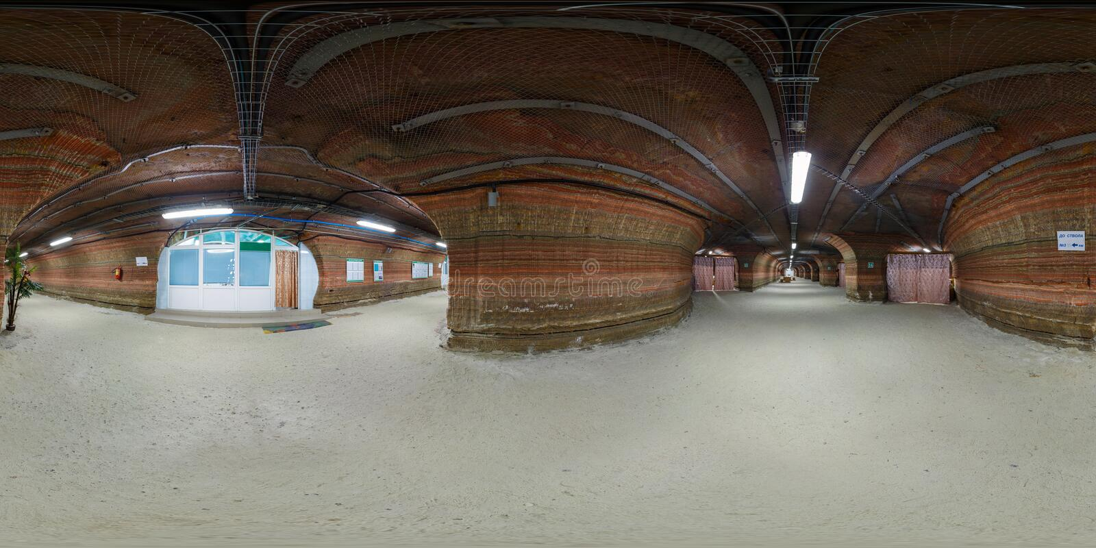 SOLIGORSK , BELARUS - SEPTEMBER, 2013:  full seamless spherical Panorama 360 degrees in interior of hospital caving in cave of. Potassium salt. 360 panorama  in royalty free stock images