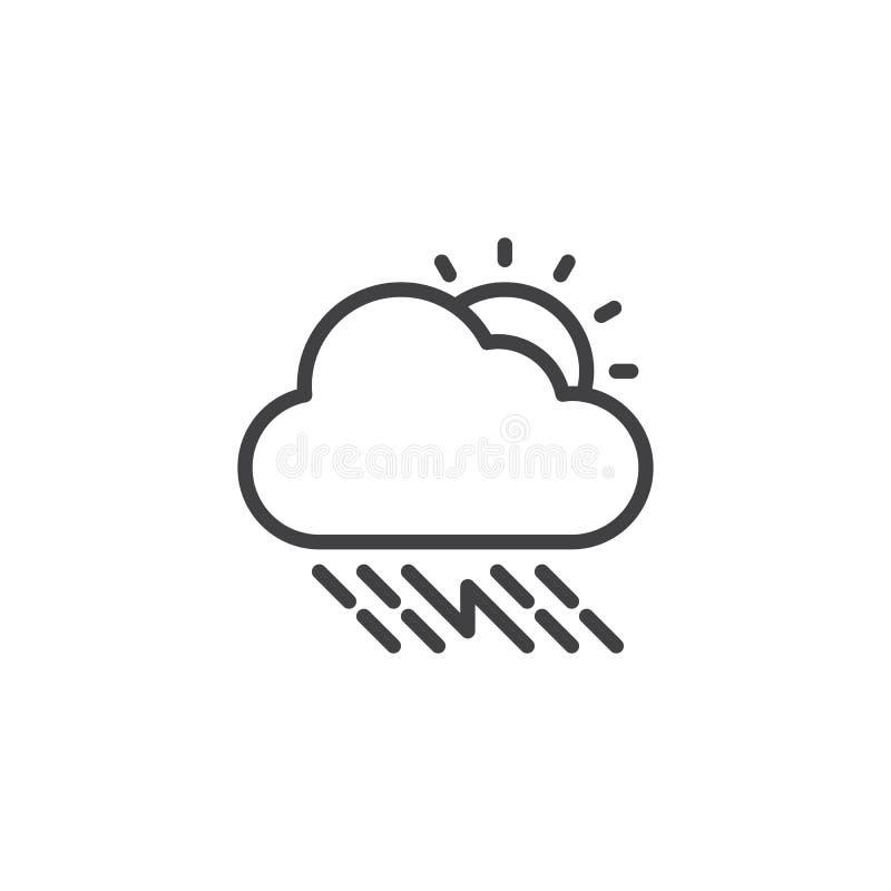 Soligt åskvädermoln med regnöversiktssymbolen royaltyfri illustrationer