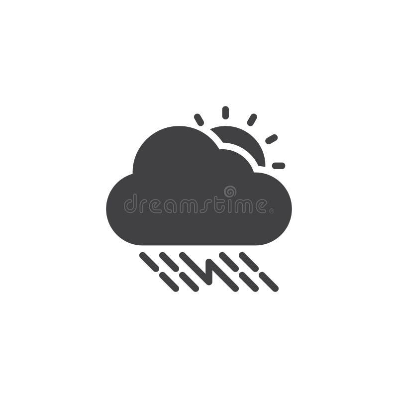 Soligt åskvädermoln med regnvektorsymbolen vektor illustrationer