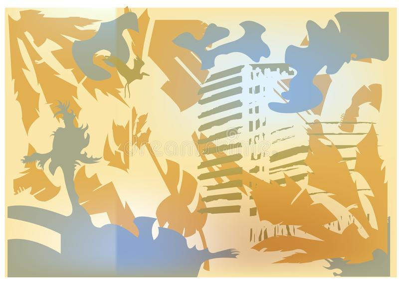 soligt landskap för abstrakt strand vektor illustrationer