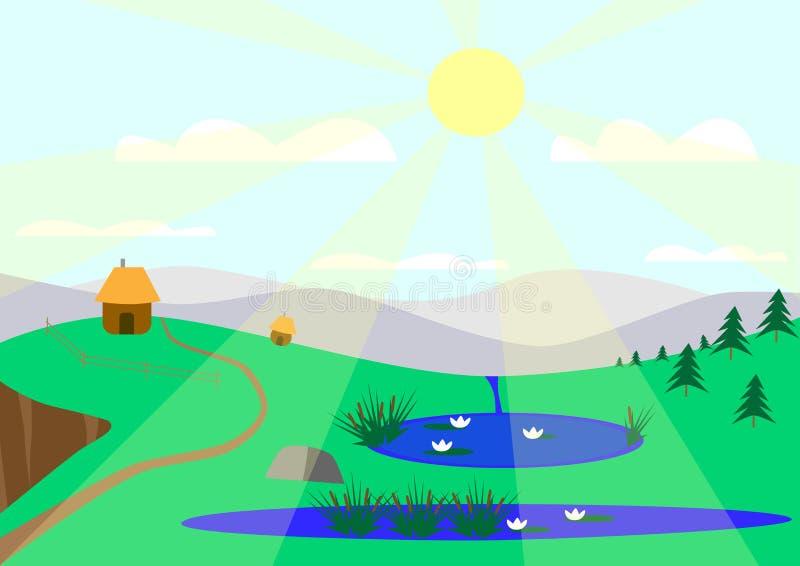 Soligt landskap med sjöar royaltyfri illustrationer