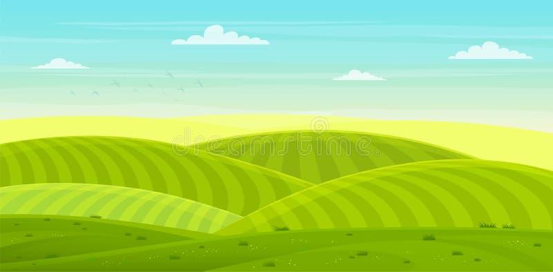 Soligt lantligt landskap med kullar och fält grön kullsommar stock illustrationer