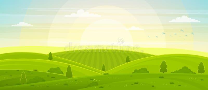 Soligt lantligt landskap med kullar och fält på gryning royaltyfri illustrationer