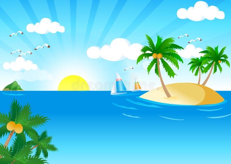 Soligt och hav stock illustrationer