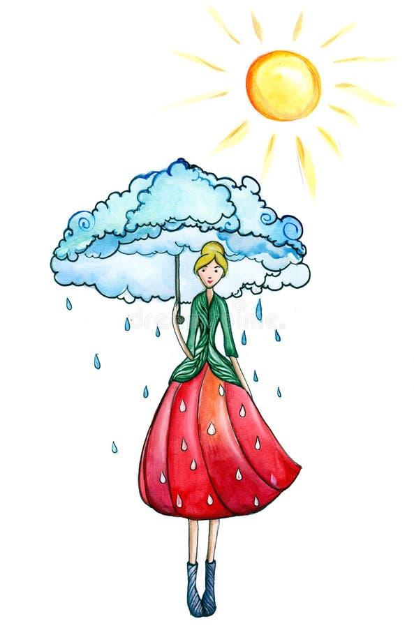 Soligt regn vektor illustrationer