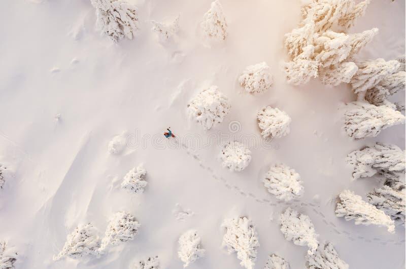 Soligt vinterlandskap med mannen på snöskor, flyg- sikt arkivfoton