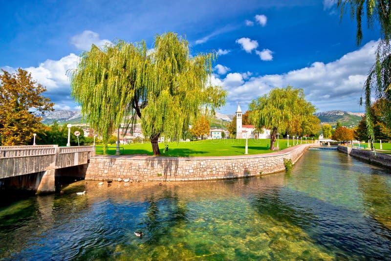 Solin and Jadro river autumn view. Dalmatia, Croatia royalty free stock images