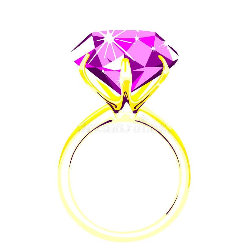 Solitario - illustrazione di vettore dell'anello di diamante illustrazione di stock