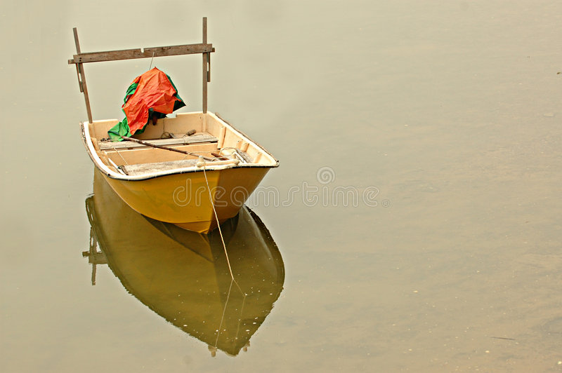 Solitary boat stock photo