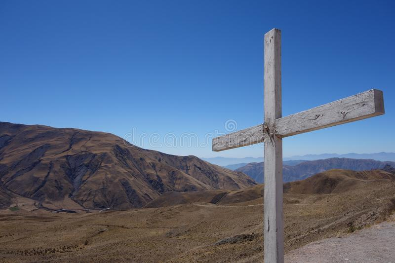 Solitary cross on top of mountain - capilla san rafael, salta, argentina. Solitary cross on the highs. place called capilla san rafael, salta, argentina royalty free stock photography