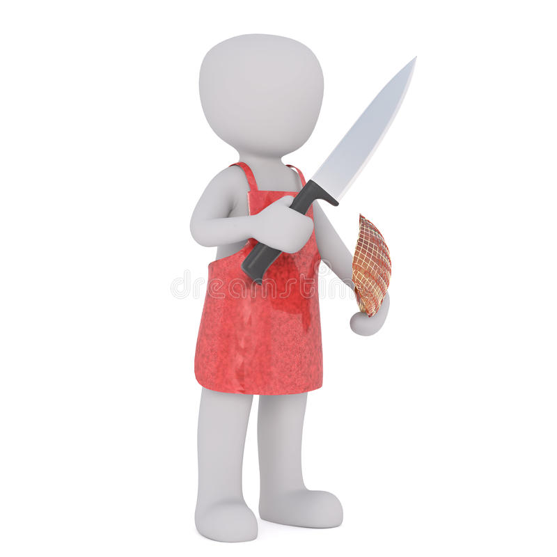 Solitary 3D illustrated rendering of butcher. Standing with knife and piece of ham royalty free illustration