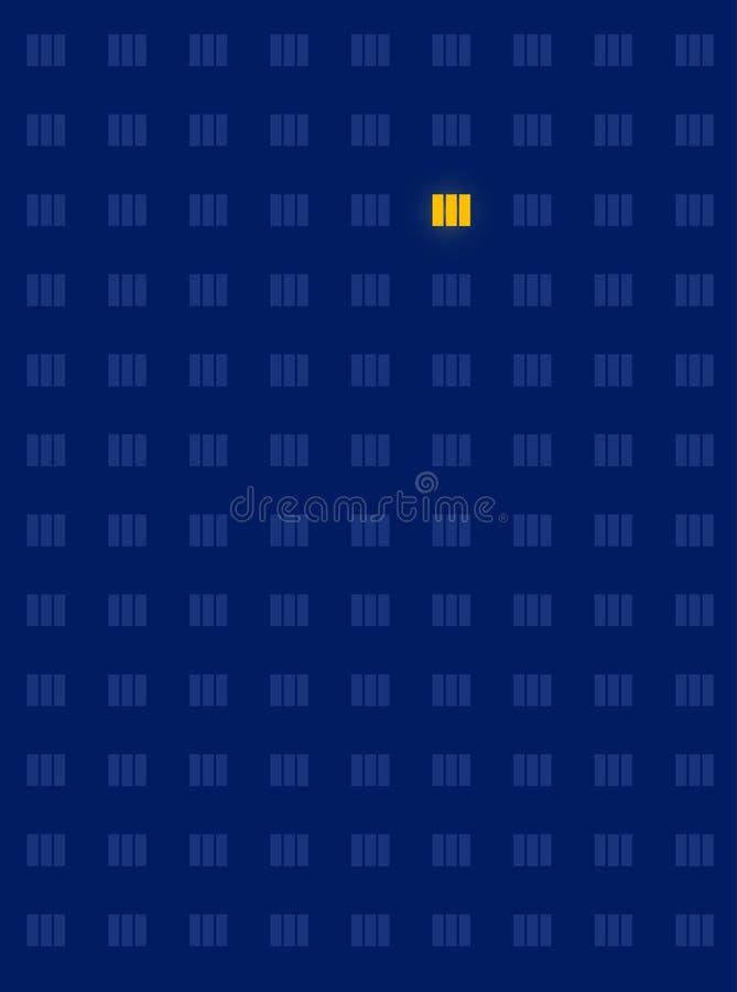 Solitary lighted window stock illustration