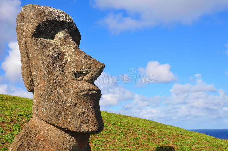 Solitary Moai on Easter Island royalty free stock photo