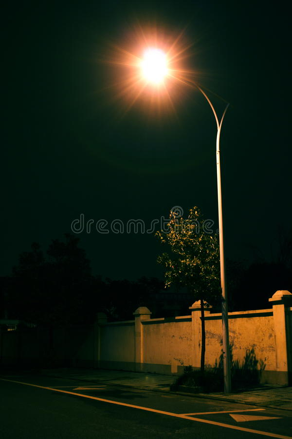 Free Solitary Street Lamp In The Night Royalty Free Stock Photos - 12031088