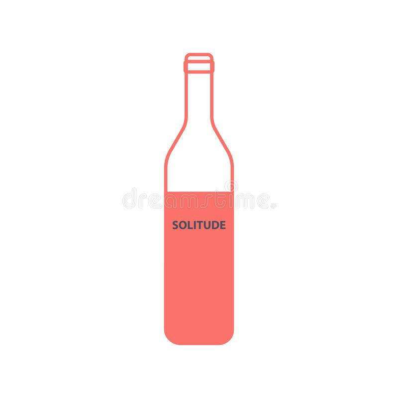 Empty wine bottle with an inscription solitude in a linear style. stock illustration